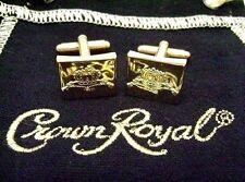 Cufflinks Crown Royal Etched Gold Tone w/Black Drawstring Cotton Felt Bag NOS