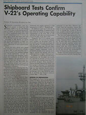 1/1991 ARTICLE 4 PAGES BELL BOEING V-22 OSPREY SHIPBOARD TESTS USS WASP