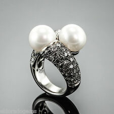 5.00 CT. BLACK CHAMPAGNE DIAMOND 11 MM SOUTH SEA PEARL COCKTAIL RING 18K US 5.75