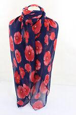 Scarves Beautifull Poppy Flower Print Maxi Shawl Beach Wrap/Sarong Hijab Navy**