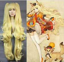 Popular Vocaaloid Seeu Long Curly Yellow Ponytails Anime Cosplay Wig + Cap