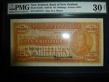 New Zealand Lot P-S232b 1926 1932 10 Shillings PMG VF 30 Add Collection