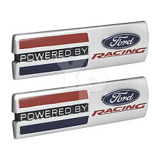 """Mustang """"Powered By Ford Racing"""" 5.5"""" x 1.5"""" Emblems Fender Badges Chrome - Pair"""