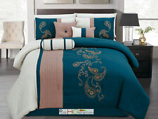 7 Paisley Floral Embroidery Pleated Striped Comforter Set Blue Khaki Beige Queen