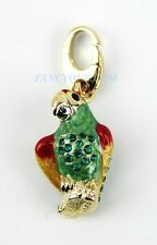 JUDITH LEIBER PARROT CHARM JEWELRY SWAROVSKI 24K GOLD PLATED STERLING NEW USA