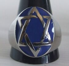 Stainless Steel Seal of Solomon Ring Custom Size Blue enamel Star of David R22ss