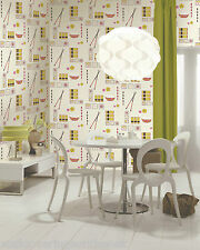 Unusual & Funky, Japanese/Sushi Themed Wallpaper, Printed on Cushioned Vinyl