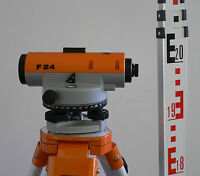 Nedo F24 Automatic Dumpy Level with Tripod and Staff (24x Magnification)