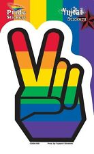 "(#65) GAY PRIDE RAINBOW PEACE SIGN HAND 4.5"" x 3.25"" window sticker decal (AF803"