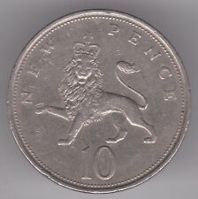 United Kingdom 10p Pence 1968 Copper-Nickel Coin - Crowned Lion Passant Gaurdant