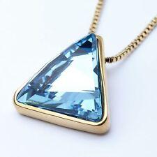 Azul Genuino Triángulo Colgante Collar de cristal austriaco Chapado en Oro Blanco 18Ct