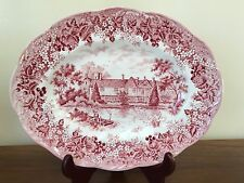 J & G Meakin ROMANIC ENGLAND Red Oval Serving Platter 12