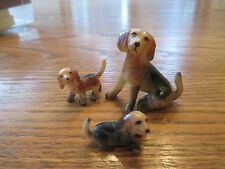 Vintage Collectible RESIN DOGS Lot of 3 Miniature Adult & 2 Pups Baby Animals