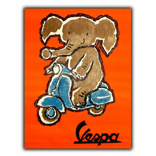 VESPA ELEPHANT Vintage Retro Old Advert METAL WALL SIGN PLAQUE poster print