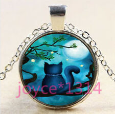 Vintage Cat in tree Cabochon Tibetan silver Glass Chain Pendant Necklace  #3380