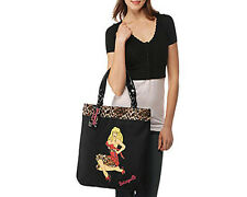 NEW BETSEY JOHNSON Black Leopard Cheetah Rockabilly Pinup Blonde Girl Tote Bag