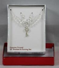 "Crystal Pendant Earring Set Genuine 18"" Key Necklace Pierced  NEW"