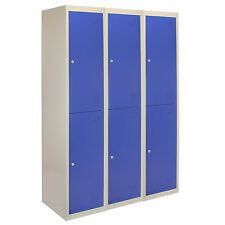 3 x Metal Lockers 2 Doors Steel Staff Storage Lockable Gym School Blue - 45cm D