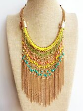 Turquoise Yellow Tassel Beads Ethnic Tribal Gypsy African Gold Chain Necklace