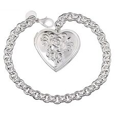 "Unique & Elegant Pure 925 Sterling Silver Heart Shape Locket 8"" Bracelet #006"