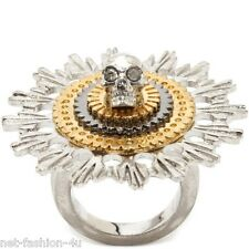 ALEXANDER McQUEEN FLOWER SKULL COCKTAIL RING IT 11 US 5.75 UK L 1/2 BNWT BNWT