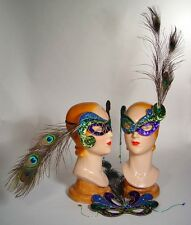 katherine's Collection jester mask Mardi Gras Peacock feather Halloween set of 3