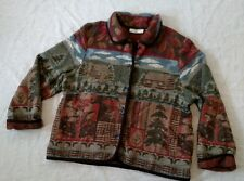 Orvis Women's Vintage Wool Cardigan Sweater w/Woodland Cabin and Fish Size XL