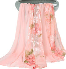 Silk Blend pink flowers of beautiful girls stole Beach scarf wrap