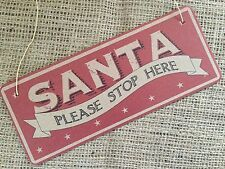 Christmas Tree Hanging Santa Sign Plaque Xmas Shabby Chic Decor East of India