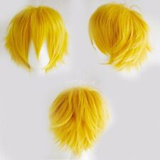 Uisex Short Straight Wig Cosplay Party Hair Wigs for Women Men Boy Yellow