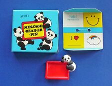 Buy3/Get1FREE~NEW in BOX AVON Pin PANDA BEAR Message Bear-er Vintage 1983
