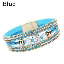 New Women Multilayer Bangle Bracelet Crystal Beaded Leather Magnetic Wristband