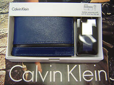 CALVIN KLEIN MEN'S LEATHER BIFOLD WALLET & KEY FOB SET BLUE