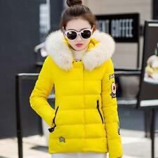 NEW Winter Women's Fur Hooded Warm Thicken Short Jacket Down Coat Parka Overcoat
