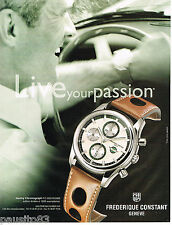 PUBLICITE ADVERTISING 065  2007  FREDERIQUE CONSTANT  montre HEALEY CHRONOGRAPH