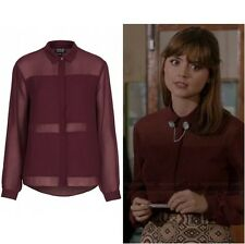 Topshop Cosplay Burgundy Sheer Panel Chiffon Blouse Shirt - Size 6