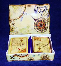WEDGWOOD ATLAS  Double Deck Playing Card Box with Lid +2 Sets of Playing Cards