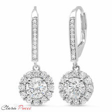 3.55 CT Sim Round CUT Halo PAVE DROP DANGLE LEVERBACK EARRINGS 14K WHITE GOLD