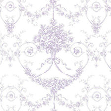 Cotton 100% Satin weave Bedding Cloth Fabric Antique Retro Damask Purple 44'Wide