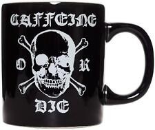 SOURPUSS BLACK CAFFEINE OR DIE MUG COFFEE CUP BREW PUNK SKULL SKULL CROSSBONES