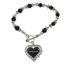 Bridesmaid Heart Silver Black Glass Bead Bracelet Jewelry Wedding Bridal Gift