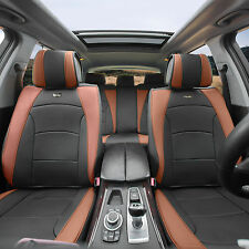 Car SUV Truck PU Leather Seat Cushion Covers 5 Seat Full Set Seats Black Brown