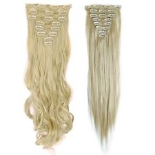 EXTRA THICK Full Head 17-26Inch Long Clip In 100% Human Made Hair Extensions AB