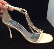 NEW LOOK SEXY ANKLE STRAP BUCKLE  HIGH HEEL STILETTO IVORY SANDALS S:4/37 Xmas