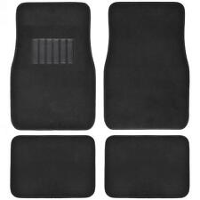 Solid Black Carpet Car Floor Mats - Set of 4 Driver Passenger and Utility Pads
