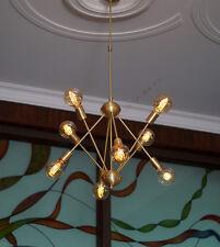 Mid-Century Brushed Brass Sputnik Starburst Chandelier - Brass Light fixture