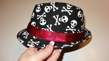 skull rocker fedora hat boys girls toddler child infant-6 yrs red ribbon