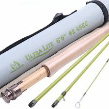 Fly Rod 6.6FT 2Weight 4Section Medium Fast Fly Fishing Rod With Cordura Rod tube