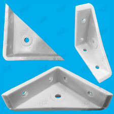 "4x 50mm 2"" Plastic White Cranked Corner Gusset Brace Angle Brackets, Furniture"