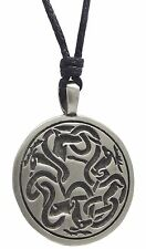 Pewter 3 STAGS Pendant on Adjustable Black Cord Necklace Nickel Free Celtic Deer